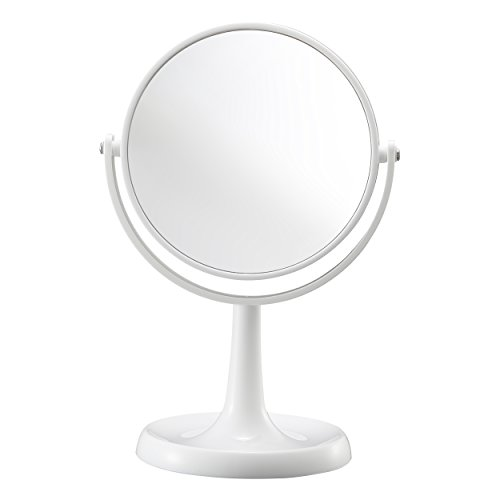 Harima - Miroir de courtoisie à Double Face | Grossissement 1X 3X | Miroir de Rasage sur Socle Blanc | Miroir de Maquillage cosmétique