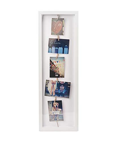 UMBRA Clothesline Flip. Cadre Pêle-mêle Clothesline flip, coloris bois laqué blanc pour environ 7 photos, dimension du cadre 72,4x24.1x3.8cm