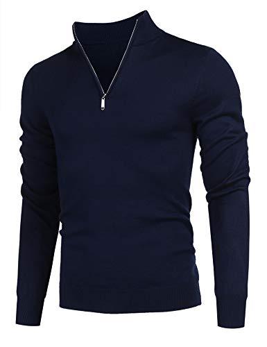 Balancora Herren Feinstrick Baumwolle Pullover mit Reißverschlusskragen Sweat Sweatshirt Navyblue L