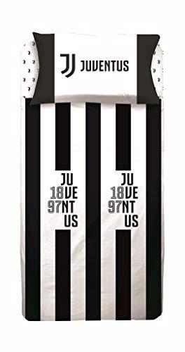 Parure Copripiumino Juventus Letto Singolo Una Piazza in Cotone - Sacco + Federa (No Lenzuolo Sotto con Angoli)