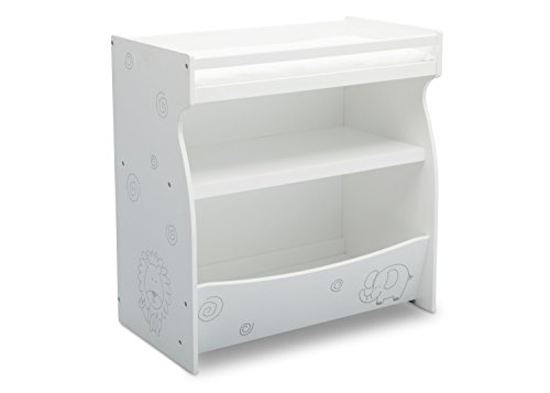 Delta Children 2-in-1 Changing Table and Storage Unit, Bianca White with Animal Motif