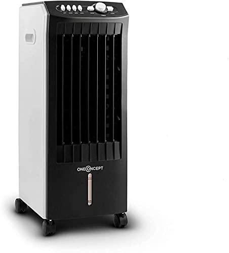 Oneconcept MCH-1 V2 - Raffrescatore Evaporativo, Ventilatore, Umidificatore, 3in1, 7 Litri, 360 m³/h, 65 W, 3 Livelli di Potenza, Oscillazione, 3 Velocità, Rotelle, 2 Siberini, Portatile, Nero/Bianco