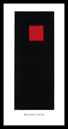 Germanposters Kazimir Malevich Cuadrado roja sobre Negro Póster De Impresión De Imagen en el Marco de Aluminio en Negro