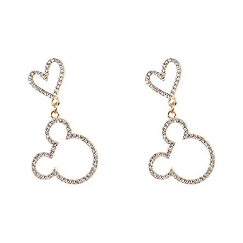 XAOQW Encantador Mickey en Forma de corazón Taco Pendientes Colgante Plateado Plata cristalino Mouse Accesorios Elegantes joyería Femenina