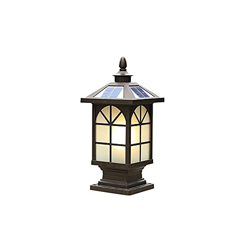 ZZYJYALG Solar Outdoor Post Lights Lantern LED Waterproof Aluminum Glass Pole Lamp,Brown Warm Light ,Fit for Fence Courtyard Garden Patio 15/44cm