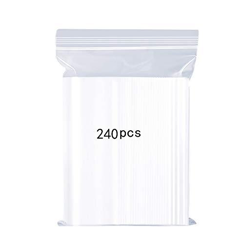 Wiederverschließbare Durchsichtige Plastikbeutel, Starke Wiederverwendbare Zip-Lock-Beutel, Verdickung und Haltbar, Drücken zu Schließen 7x10cm auf Küche Speicher Schmuck Verpackung Shopper 240PCS