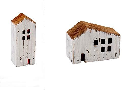 2er Set Deko Haus Holzhaus Shabby Chic Dekohaus weiß braun Häuser