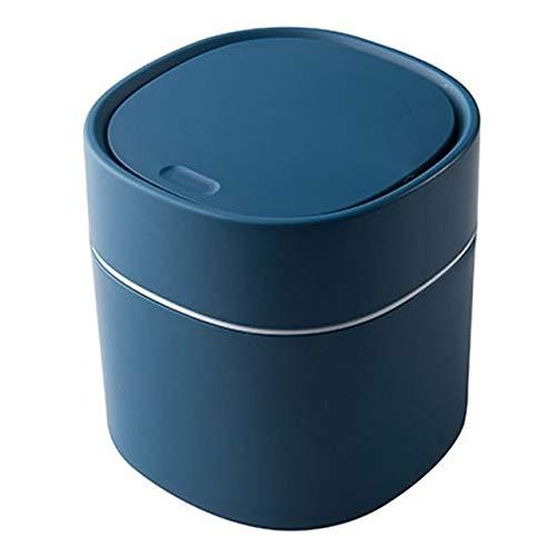 Cttiuliljt Trash Can, Mini Trash Can Desktop-Abfallbehälter mit Druckverschluss Home Office Arbeitsgeräte (Color : Blue)