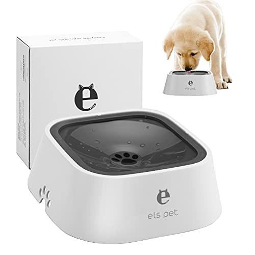 ELSPET Dog Water Bowl Dispenser - Spill Proof or No Spill Slow Water Feeder, Dripless, Automatic and Anti-Splash, Vehicle Carried Travel Animal Pet Bowls for Dogs Cats - No Wet Mess, Easy to Clean