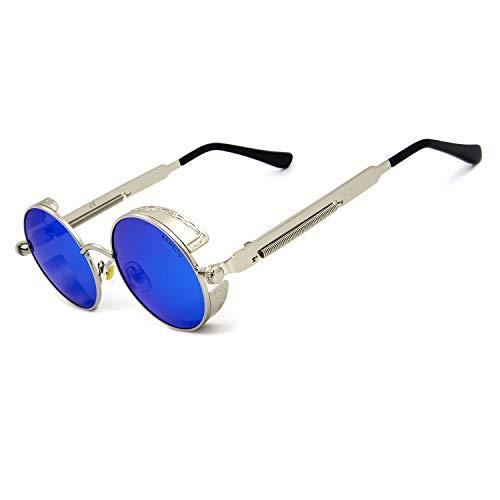 RONSOU Steampunk Stil Rund Vintage Polarisiert Sonnenbrillen Retro Brillen UV400 Schutz Metall Rahmen silber rahmen/blau linse