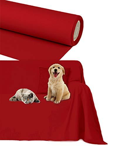 Byour3 Funda de sofá Impermeable - protección para Sofás por Mascotas Niños Protector hidrófugo en Algodon Antimanchas Antideslizante para Pelo Gatos Perros (Rojo Rubì, 3/4 plazas 400x300cm)