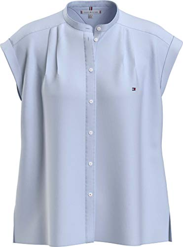 Tommy Hilfiger Oxford Relaxed Shirt NS Camisa, Azul, 38 para Mujer