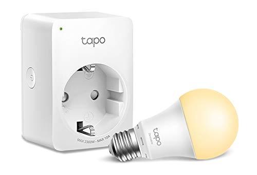 TP-Link - WiFi Enchufe Inteligente Mini tamaño + Bombilla Inteligente WiFi