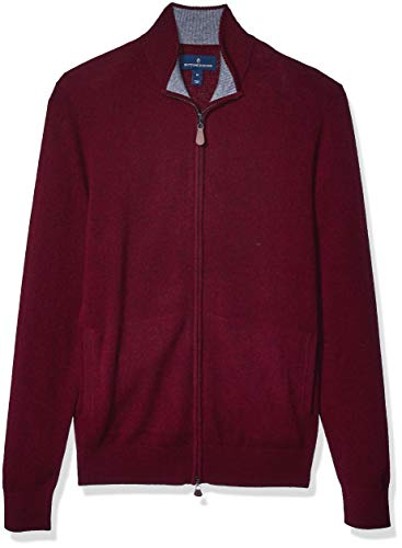 Amazon Brand - Buttoned Down Men's 100% Premium Cashmere Full-Zip Sweater, Burgundy, Large