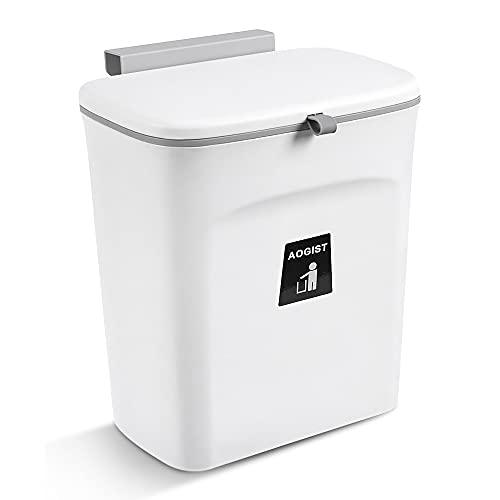 Aogist Cubo de basura para lavabo, para la puerta bajo el fregadero, para colgar en puertas de cajones y armarios. El práctico cubo de basura de 9 litros (blanco).
