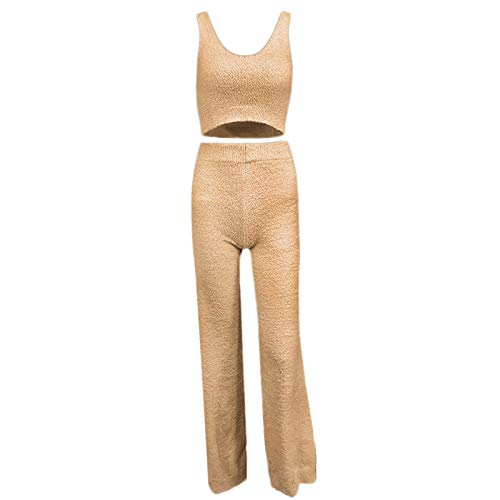 DALIN Mujeres Sexy Fuzzy Plush Outfit V-cuello Backless Crop Top Pantalones largos Loungewear
