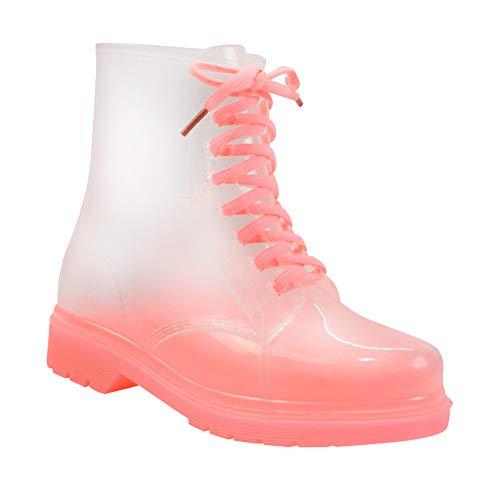 Daytwork Transparente Gummistiefel Schuhe Damen - wasserdichte Schnee Regen Warm Chelsea Boots Winter Rutschfester Bequem Regenstiefel Stiefel Stiefeletten