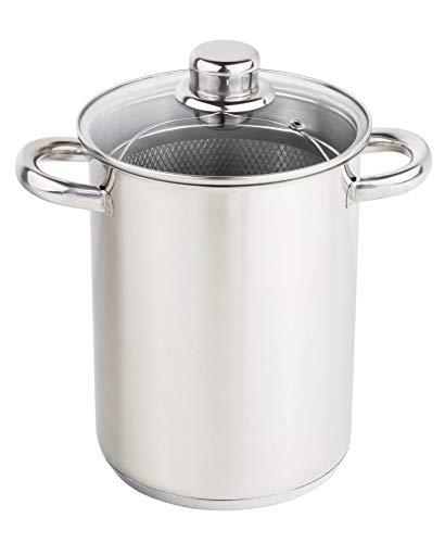 Spargeltopf aus Edelstahl Ø 16 cm/Höhe 21 cm - Topf mit herausnehmbarem Korb Einsatz - auch geeignet als Nudeltopf, Spaghettitopf, Gemüsetopf, Pastatopf UVM.