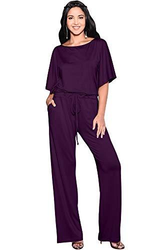 KOH KOH Petite Womens Short Sleeve Long Pants One Shoulder Cocktail Casual One Piece Pockets Jumpsuit Jumpsuits Pant Suit Suits Romper Rompers Playsuit Playsuits, Purple S 4-6