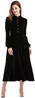 فستان Ayliss طويل مخملي للنساء بياقة بيتر بان فستان متأرجح بأكمام طويلة