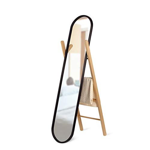 Umbra Hub Floor Mirror With Rubber Frame, Modern Decor for Entryways, Washrooms, Living Rooms, Black, 61.75x16.75 (156.85 x 42.55cm)