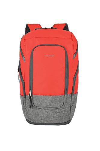 Travelite großer Handgepäck Rucksack für Reise, Freizeit und Sport, Gepäck Serie BASICS Daypack: Kompakter Travelite 096291-10, 48 cm, 30 Liter, rot/grau, Rucksack L