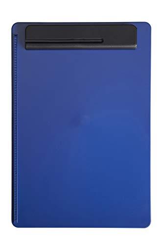 Maul Cartella con molla fermafogli, in plastica infrangibile, A4, guida per fogli a sinistra, portapenna blu/nero