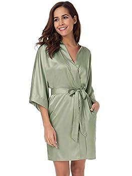 SIORO Women s Satin Robes Silk Kimono Bathrobe for Bride Bridesmaids Wedding Party Loungewear Short,Sage Green Small
