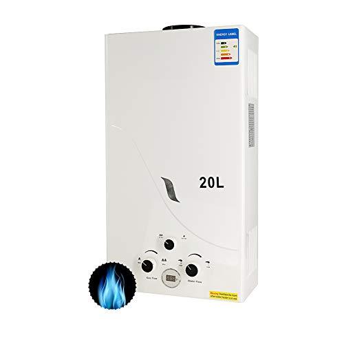 Calentador de Gas 20L, RBAYSALE 2400W Calentador de Agua de Gas 20L Calentador De Gas Butano Calentador de Agua Instantaneo Calentador Gas Propano Hot Water Heater