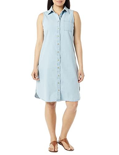 AmeriMark Women's Cotton Denim Casual Dress with Collar - Knee Length Dress Light Denim 1X
