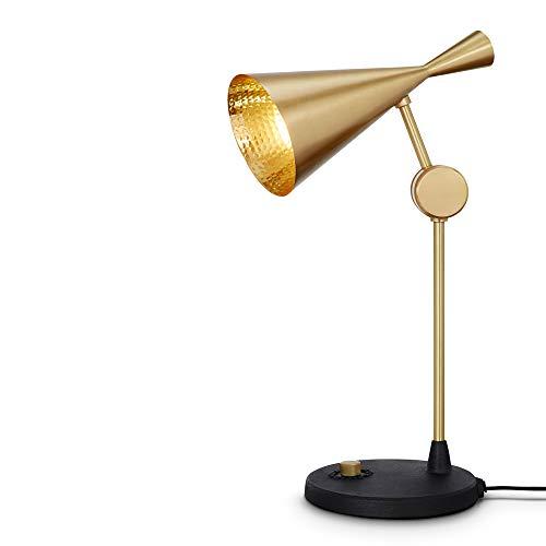 Tom Dixon Beat luxe tafellamp met verstelbare arm voor directe stevige ijzeren sokkel - bureau-/werklamp - ideaal voor slaapkamer, lounge en meer goud-messing, medium