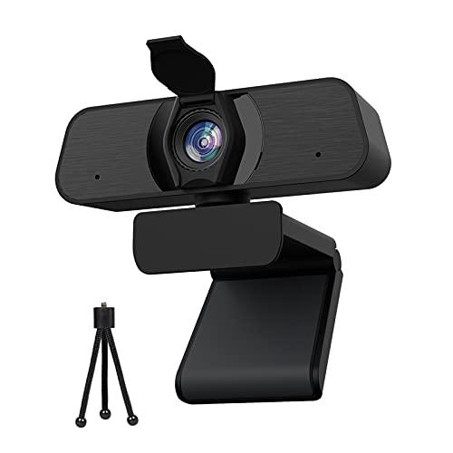 Webcam con Micrófono,Webcam 2k para PC con Enfoque Manual,Cover y Trípode,USB 2.0,Cámara Web para Videollamadas,Conferencia,Youtube, Skype, Zoom