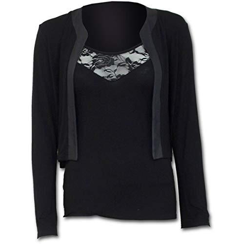 Spiral Direct Gothic Elegance-2in1 Lace Vest Cardigan Camisa Manga Larga, Negro (Black 001), 52 (Talla del Fabricante: XX-Large) para Mujer