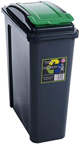 Wham Recycling Bin Slim Kitchen Trash Can Rubbish Dustbin with Green Lid 25 Litres