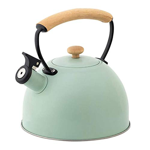 ASDFDG Stovetop kettle 2.5L Gas Stove Stainless Steel Tea Kettle Whistle Kettle with Wooden Anti-Scald Handle/Green