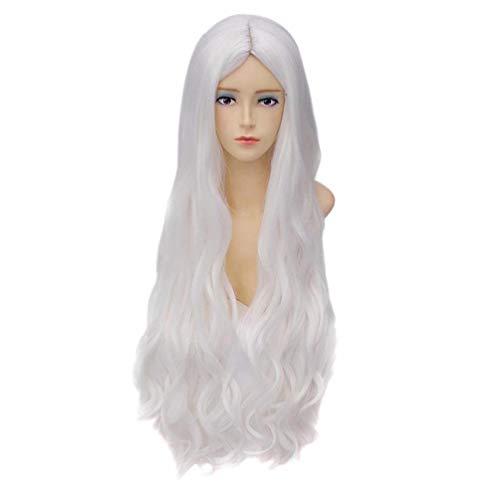 HongHu Mode Longue Ondulée Bouclée Perruque Partition Centrale Coupe de Cheveux Perruque Anime Cosplay Plein Cheveux Parti Perruques Argent Blanc