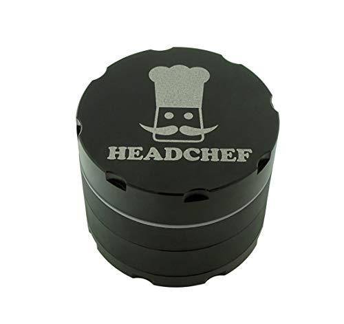 Headchef Rasoio, 4 pezzi, macina erbe e tabacco in metallo di alta qualità con raschietto 50 mm Nero