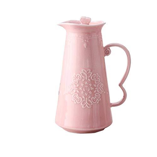 YAMMY Tetera de Porcelana de Gran Capacidad, fría y Caliente, Jarra, Resistente a Altas temperaturas, Creativo, con Flores, Tetera, Juego de té (Color: Rosa) (Olla Caliente)