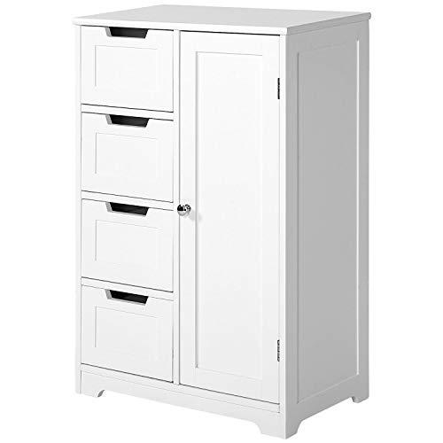 PovKeever Sideboard Badezimmerschrank, Badschrank Wohnzimmerschrank aus Holz Beistellschrank Kommode mit 4 Schubladen, Schranktür, verstellbare Regalebene, weiß