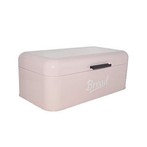 DRULINE Brotkasten Metall | Brotbox | Brotkiste | Aufbewahrungsbox | Frischhaltebox | Küche | Hochwertig verarbeitetes Metallblech | Großer Stauraum | 16,5x42x23cm (L/B/H) | Rosa