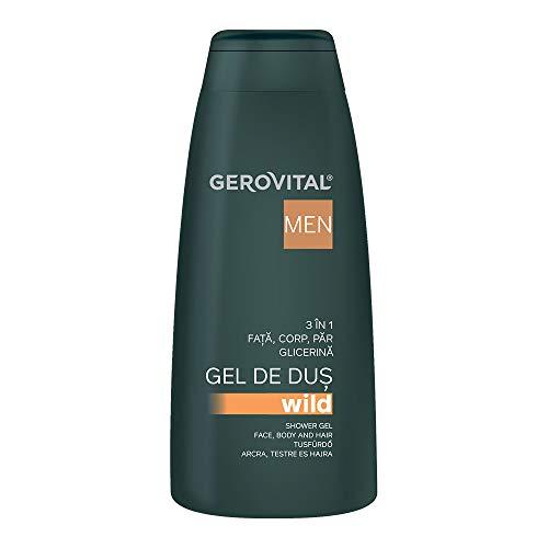 Gerovital Men, Gel de ducha salvaje 3 en 1, Cuidado de la piel, cabello, cuerpo, 400 ml