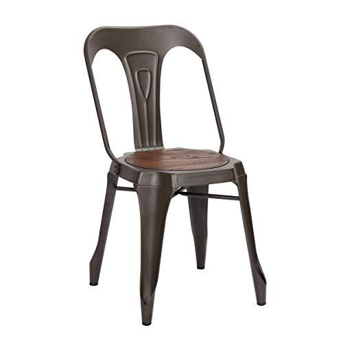 MATHI DESIGN Chaise de Repas Acier Bronze/Bois foncé