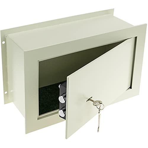 PrimeMatik - Cassaforte di Sicurezza Incasso in Acciaio Armadi di Sicurezza con Chiavi 36x15x23cm Beige