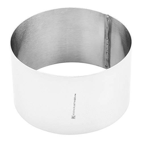 4 Inch Baking Ring, 1 Round Cake Ring - Oven-Safe and Freezer-Safe, Bake Pastries, Mousse, and Other Desserts, Stainless Steel Ring Mold, Dishwasher-Safe, For Cooking or Baking - Restaurantware