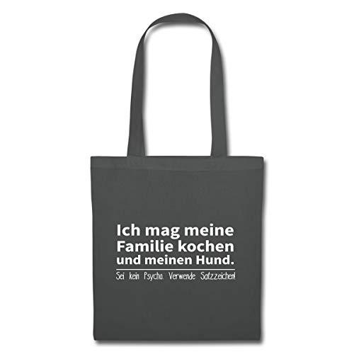 Spreadshirt Mag Familie Kochen Und Hund Verwende Satzzeichen Stoffbeutel, Graphite