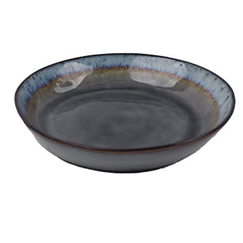 LIXUE Grande assiette creuse Pasta Assiette à soupe Ramen Noodle Bowl Salade de fruits Bol créative Irrégulière glace Crack Céramique Vaisselle Micro-ondes 7,8 pouces (Color : Gray)