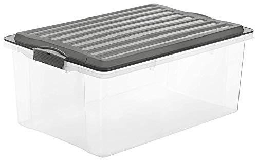 Rotho Compact Aufbewahrungsbox 38l mit Deckel, Kunststoff (PP) BPA-frei, anthrazit/transparent, A3/38l (57,0 x 40,0 x 25,0 cm)