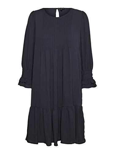 VERO MODA Damen Tunika-Kleid VmZigga 7/8 Ärmel Blusenkleid, Farbe:Blau, Größe:L