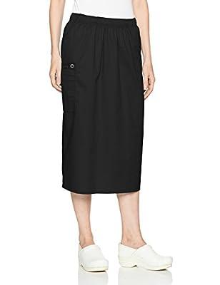 WonderWink Women's Wonderwork Pull-on Cargo Scrub Skirt, Black, X-Large