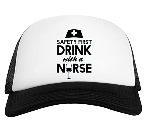 Safety First Drink with A Nurse Gorra De Béisbol Unisex Blanca Negra White Black Baseball Cap Unisex